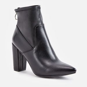 Faux Leather Bootie with Exposed Zipper
